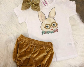 Vintage Bunny Tee with Gold glasses