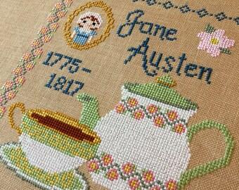 Tea With Jane: Jane Austen Inspired Cross Stitch Pattern - PDF Pattern Instant Digital Download