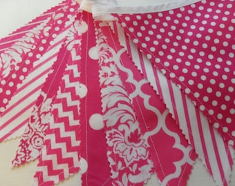 Fabric Banner, Bunting Banner, Pink Banner, Nursery Decor, Wedding, Photo Prop, Sweet 16, Pink and Pink, Dots, Chevrons, Ready to Ship!