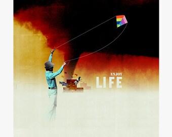 Enjoy life 5 - collage - mixed media - vintage -  29,7 x 29,7 cm
