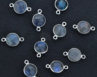 Natural Labradorite, Bezel Round Shape Connector, 8mm Round Silver Plated, Double Bail 1pc (LB-10205)