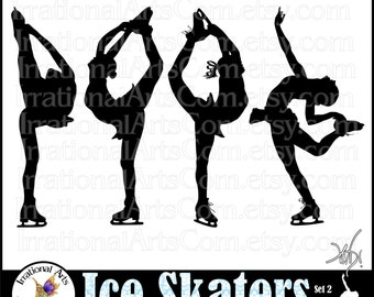 Ice Skaters set 2 GIRLS Silhouettes - 4 PNG Clip Art digital graphics Ice Dancer Dancing figure skater Silhouette Instant Download