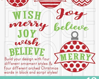 Christmas SVG Files Set of 12 cut files includes svg/png/jpg formats! Commercial use approved! DIY ornament design using ornament and word.