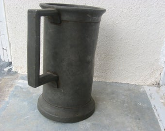 Antique French Measuring Cup, 19th century Demilitre heavy Pewter Tankard or Pitcher. Old country style decor, unique vase, baking kitchen