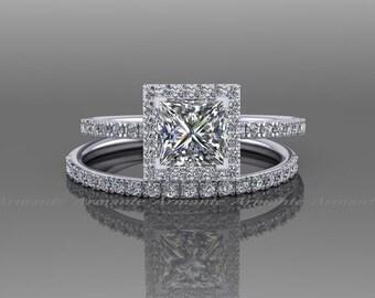 Engagement Ring Set / Moissanite Ring/ Princess Cut Moissanite And Natural Diamond Bridal Set / White Gold / RE58.5W