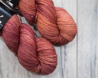 DK weight merino yarn 100% Superwash Merino Sweater weight yarn. Double Knit Weight yarn. Steam Powered Giraffe. Semi-Solid copper yarn.