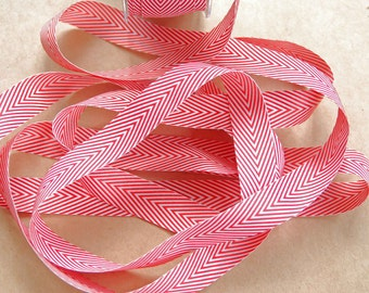 BULK Striped Chevron Twill Ribbon -- 3/4 inch -- Red White