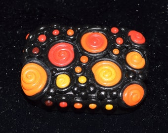 Red to Yellow Spirals Polymer Clay Decorated Rectangle Box