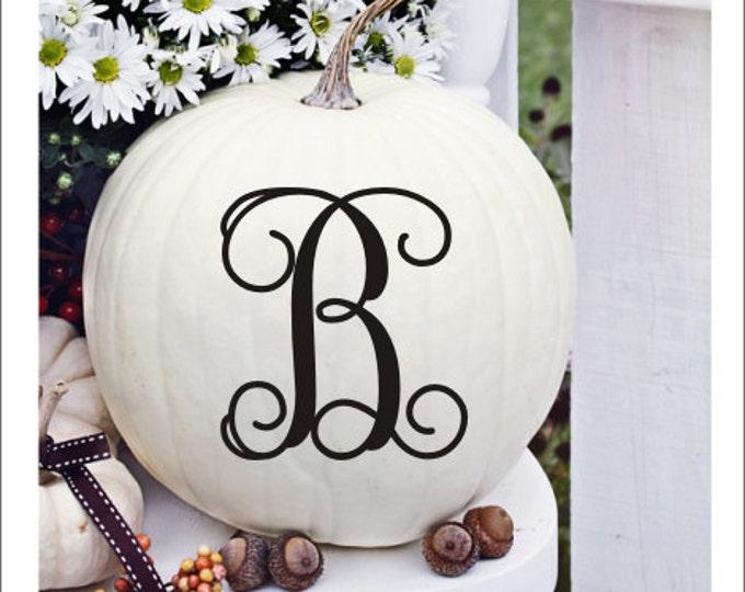Pumpkin Monogram Decal Vinyl Decal Small Decal Pumpkin Decor Halloween Holiday Decor Fall Porch Decal Fall Porch Decor Curb Appeal Decals