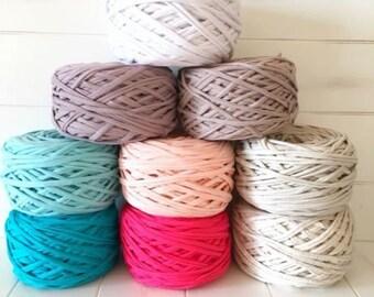 T-shirt yarn. Knitted ribbon yarn. Maccheroni yarn. Spaghetti yarn. Recycled yarn. Knitted ribbon yarn for home decor items Yarn for crochet