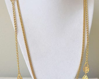 Gold Chain Necklace, Gold Rope Chain, Multi-chain Necklace, Flapper Necklace, Vintage Necklace, 1960's Necklace