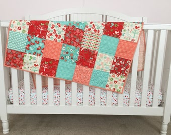 Baby Crib Play Quilt Floral with Birds