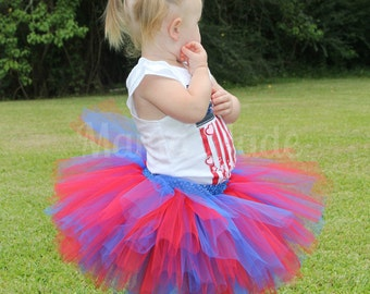Red and Royal Blue Tutu with matching hair accessory, Girls Tutu, Red and Blue Tutu, Patriotic Tutu, Birthday Tutu, 4th of July Tutu, Tutu