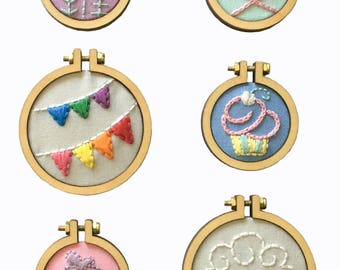 Miniature embroidery hoop PATTERNS ... for Dandelyne miniature embroidery hoops