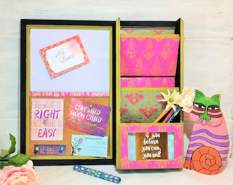 Moroccan Message Center, Pink Wall Mount Mail Center, Boho Message Board, Entry Organizer, White Board, Bulletin Board, Girls Message Center