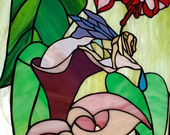 Stained glass panel of fairy kneeling in a flower, fairy in stained glass, fairy suncatcher, suncatcher with flowers, floral stained glass