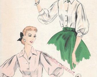 Vintage 1950s Vogue Pattern 7651 - Blouse size 16 bust 34