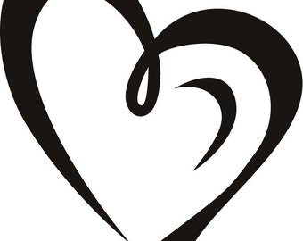 Pretty Curled Heart Vinyl Decal