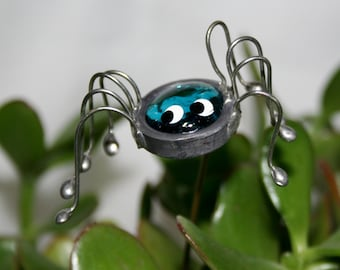 Stained Glass Teal Blue Spider Plant Stake