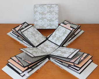 "Photo Album White/greyish and light rosé (pinkish)- 3D photo album- Explosion box - 6"" X 4"" (15 X 10 cm)- Wedding, birthday special gift"