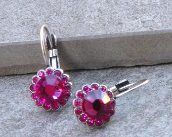 Romantic gifts Fuchsia Earrings Swarovski Earrings Bridal Earrings Wedding Earrings Bridesmaids Jewelry Pink Earrings Delicate Earrings