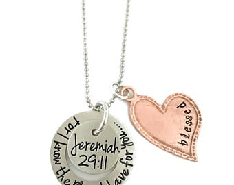 For I Know The Plans I Have For You, Jeremiah 29:11 Mixed Metal Necklace - Hand Stamped Jewelry - Personalized Jewelry - Engraved Jewelry