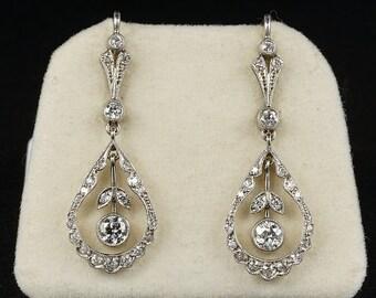 Sensual Belle Epoque 1.30 Ct Diamond Platinum Drop Earrings