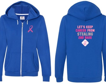 Breast Cancer Awareness Ladies Hoodie Pink Ribbon Stealing 2nd Base Font & Back Print Full Zip Hoody FBSECOND-71600FL