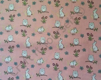 Pink owl and rabbit 100% cotton fabric 44 inch / 110cm