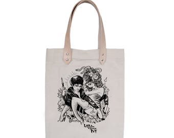 Tote Bag With leather straps - Screenprint Over Cotton Canvas Tote Bag The Cramps