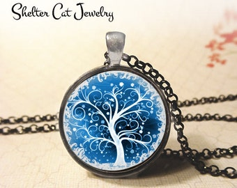 """Blue Curly Tree of Life Necklace - 1-1/4"""" Round Pendant or Key Ring - Handmade Wearable Photo Art Jewelry - Spiritual, New Age, Nature Gift"""