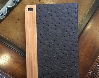 IPAD MINI 4 CASE vintage looking  hand polished american cherry wood  ,chocolate  ostrich  leather