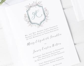 Silver Florals Wedding Invitation Suite, Floral Crest Wedding Invitation, Floral wedding crest invitation suite, Silver floral wedding suite