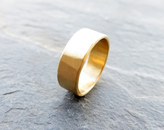 22k Yellow Gold Wide Hammered Gold Ring - Flat, Matte, Rustic Wedding Band - 2mm, 3mm, 4mm, 5mm, or 6mm Widths, Recycled Gold Wedding Ring
