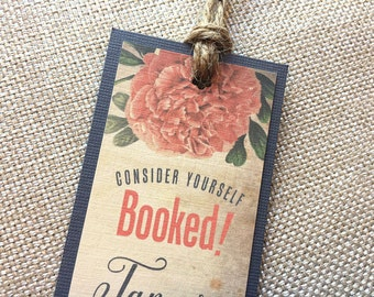 Tie the Knot Photo & Vintage Hibiscus Wedding Save the Date Bookmark... SAMPLE
