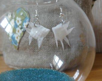 Origami fish white translucent vellum paper earrings