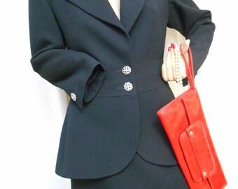 Yve Saint Laurent Encore Two Piece Suit, Jacket, Pencil Skirt, Vintage 80s, Black, Rhinestone Buttons, France Fiited Style, Size 42, USA 10