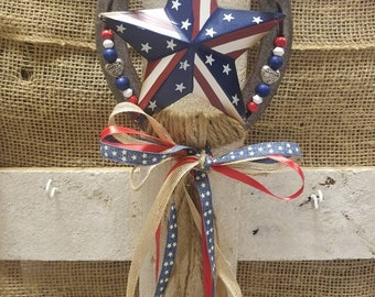 Decorated Horseshoe, Welcome Sign, Horseshoe Decor, Housewarming Gift, Home Decor, Americana, Patriotic Decor, Country Home, Horse Lover