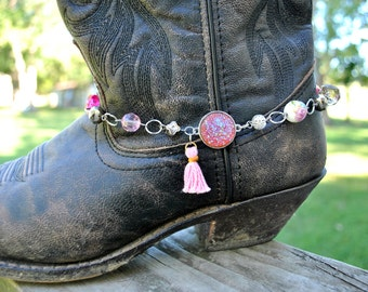 Sparkling Pink Gypsy Boot-Let// Women's Boot Charm// Country Boot Anklet