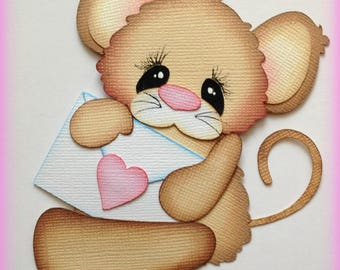 mouse with letter valentine premade paper piecing scrapbooking embellishment by My tear bears by Kira