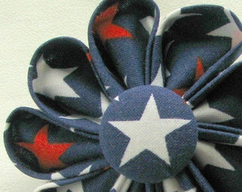 Patriotic Red White and Navy Blue Stars Kanzashi Flower Pin - Boutonniere