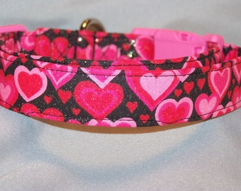 Valentine Dog Collar Glittering Pink Heart Rows
