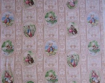 Beatrix Potter fabric tan cameo characters ( BTHY ) Quilting Treasures