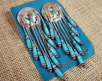 Long Vintage Turquoise Earrings with Concho Turquoise Bead Dangle Tassel Fringe