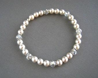 Crystal and Swarovski White Pearl Bracelet White Pearl Bridal Stretch Bracelet Pearl Wedding Bracelet