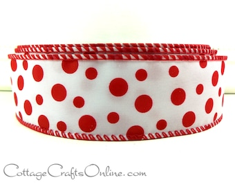 "Christmas Wired Ribbon, 1 1/2"", Red Polka Dots on White Satin - TWENTY FIVE YARD RoLl - Offray ""Kaboom""  Valentines, Wire Edged Ribbon"
