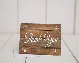 Rustic Thank You Card- 5.5x4 Folded Note Card-Rustic Bridal Shower-Rustic Wedding-Wood