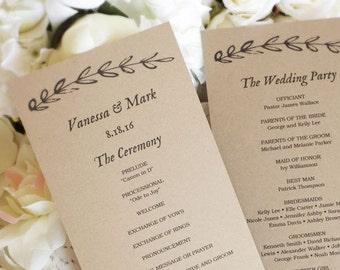 Printable Wedding Program Template, Kraft Paper Wedding Programs, DIY Wedding Program, Editable text, Tea Length, Rustic Branch, VW15