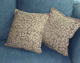 Abstract Taupe Camoflauge print 2 pillow set 14 x 14 Cotton knit and Dupioni Silk