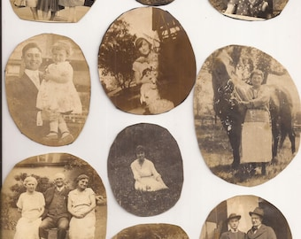 Random Set of Ten Vintage Photos Cut into Circles/Ovals by Previous Owner, Vintage Photographs, Sepia, Black and White, Family, Portraits